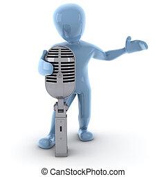 personagem, 3d, cantando, imagem