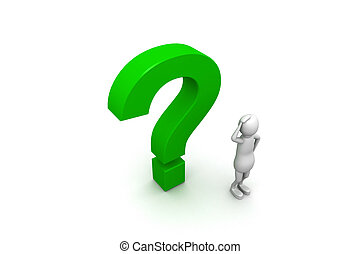 personagem, 3d, marca pergunta