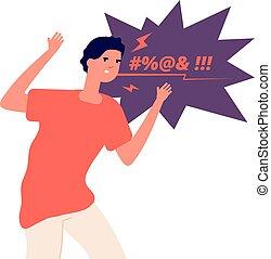 personagem, agressivo, zangado, conceito, anger., gritando, frustrado, vetorial, expressar, man., irritada, pessoa, swears, cara homem