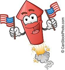 personagem, americano, fogo artifício, bandeiras, segurando, caricatura