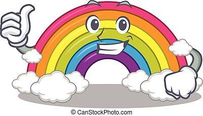 personagem, arco íris, desenho, fazer, ok, gesto, caricatura