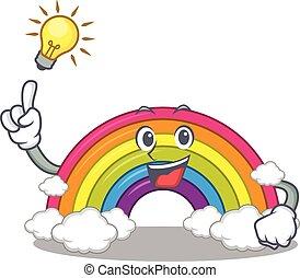personagem, arco íris, desenho, mascote, idéia, tem, gesto, esperto