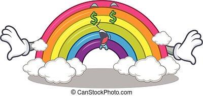 personagem, arco íris, desenho, ricos, dinheiro, olhos, caricatura