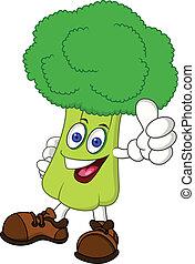 personagem, brócolos, caricatura