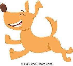 personagem, cão, ou, executando, filhote cachorro, caricatura