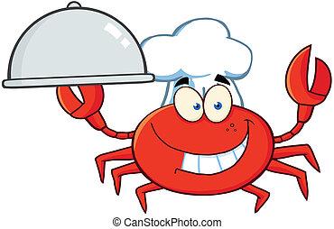 personagem, carangueijo, cozinheiro, mascote, caricatura