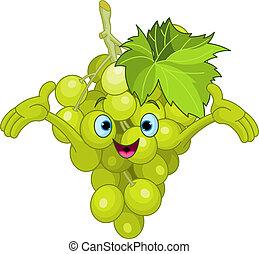 personagem, caricatura, alegre, uva