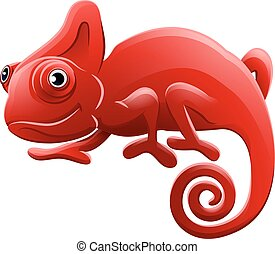 personagem, caricatura, animal, camaleão