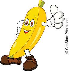 personagem, caricatura, banana
