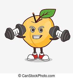 personagem, caricatura, barbells, condicão física, mascote, exercício, tentando, damasco