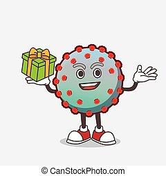 personagem, caricatura, caixa presente, vírus, mascote
