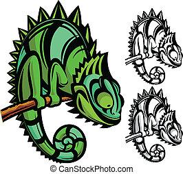 personagem, caricatura, camaleão