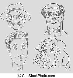 personagem, caricatura, caras