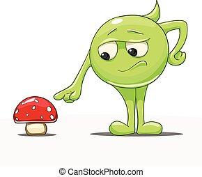 personagem, caricatura, cogumelo, vetorial