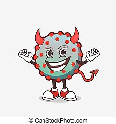 personagem, caricatura, diabo, vírus, cruel, mascote