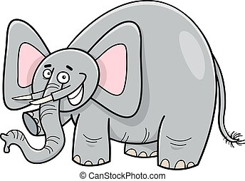 personagem, caricatura, elefante