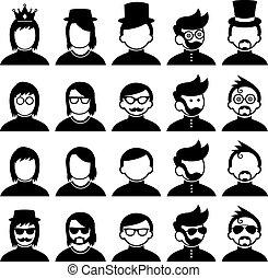 personagem, caricatura, estilo, hipster