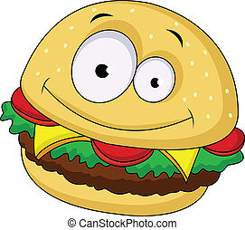 personagem, caricatura, hambúrguer