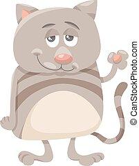 personagem, caricatura, ilustração, gato