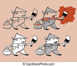 personagem, caricatura, pintor