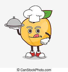 personagem, caricatura, saque, pronto, mascote, bandeja alimento, damasco, cozinheiro