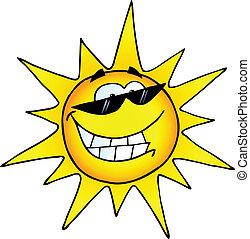 personagem, caricatura, sol sorridente
