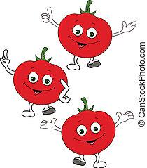 personagem, caricatura, tomate