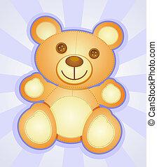 personagem, caricatura, urso, pelúcia