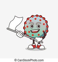 personagem, caricatura, vírus, bandeira, mascote, waving
