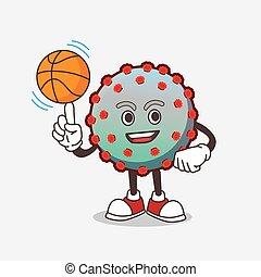 personagem, caricatura, vírus, mascote, basquetebol