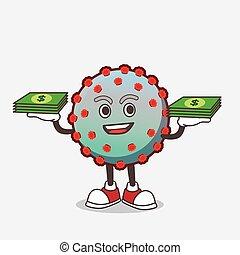 personagem, caricatura, vírus, mascote, mãos, dinheiro