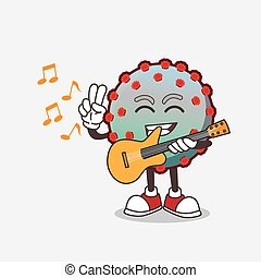 personagem, caricatura, vírus, mascote, violão jogo