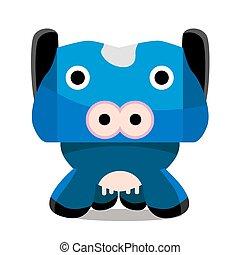 personagem, caricatura, vaca