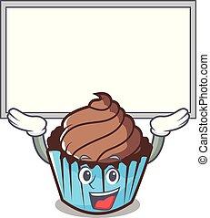 personagem, cima, chocolate, tábua, cupcake, caricatura