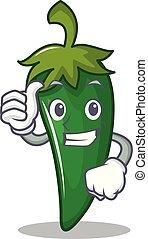 personagem, cima, verde, polegares, pimentão, caricatura