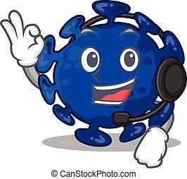 personagem, conceito, mascote, deslumbrante, desgastar, fone, streptococcus