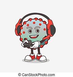 personagem, controlador, caricatura, vírus, mascote, jogo, fone, jogo