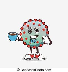personagem, copo, caricatura, vírus, mascote, café