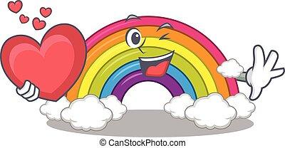 personagem, coração, arco íris, doce, estilo, caricatura