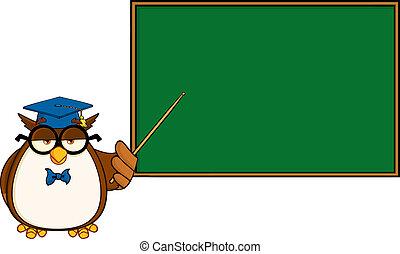 personagem, coruja, professor, caricatura, sábio