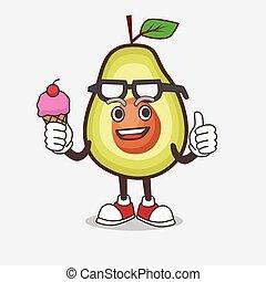 personagem, creme, comer, fruta, abacate, gelo, caricatura, mascote