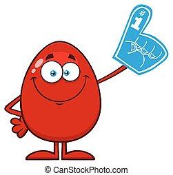 personagem, dedo, espuma, caricatura, ovo, páscoa, vermelho, mascote, desgastar
