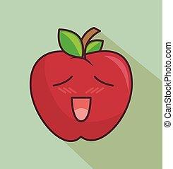 personagem, engraçado, ícone, isolado, maçã, desenho