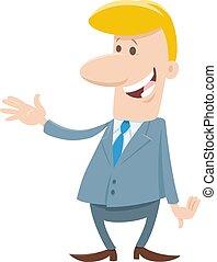 personagem, engraçado, ou, caricatura, homem negócios, homem
