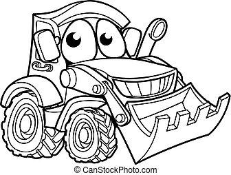 personagem, escavadora, cavador, caricatura, veículo