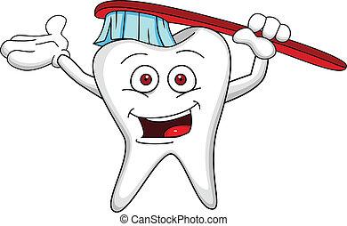 personagem, escova, dente