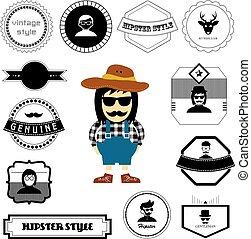 personagem, estilo, hipster, caricatura