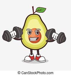 personagem, exercício, barbells, condicão física, fruta, abacate, caricatura, mascote, tentando