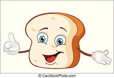 personagem, feliz, cartoon., vetorial, pão, illustration.