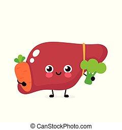 personagem, feliz, cute, fígado, brócolos, saudável